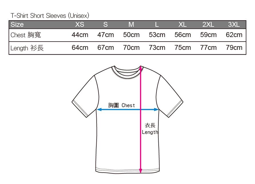 T 恤成人尺碼表 (男女同款):